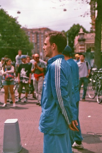 street dancers Amsterdam blue suits 35mm film