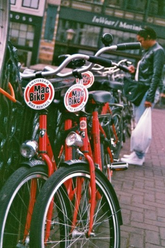Amsterdam 35mm film photography bikes red rental Netherlands