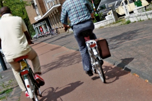 riding bike home streets of eindhoven the netherlands daily life transport biking