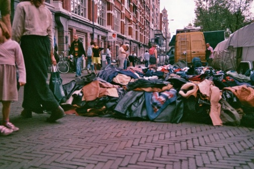 Amsterdam 35mm film photography market clothes for free pick and choose ground city street photography