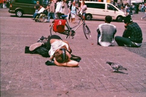 Amsterdam 35mm film photography Netherlands rest sleeping lying bird girl