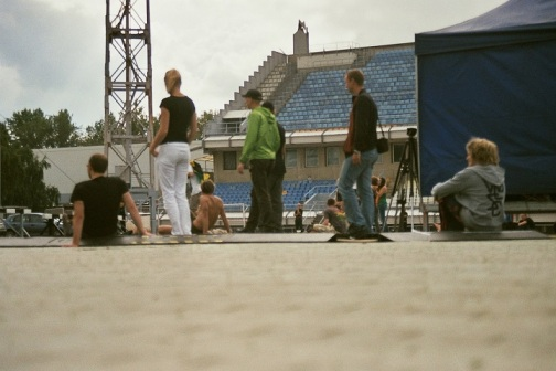 fujicolour superia 200 film 35mm stadium daugavas stadions rīga riga Reggae in Riga Sun Splash 2011 sky getting cosy feet legs summer fest festival  people waiting standing sun