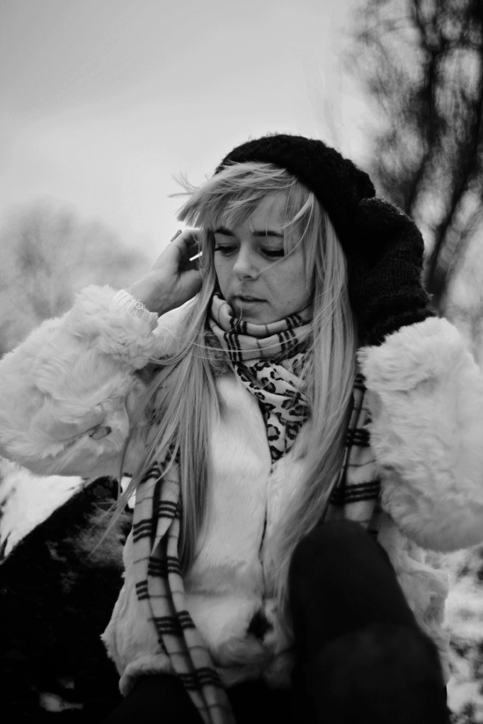 black and white, B&W, girl, model, shoot, photography, portrait, fashion shoot, coat, white , winter, casual, no colours , hat, wind windy
