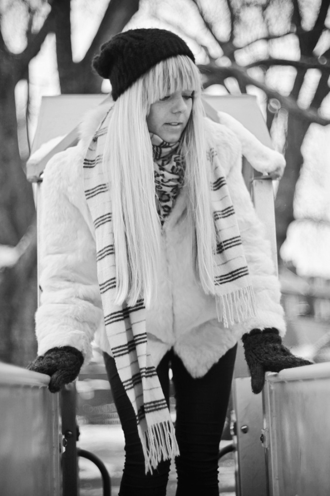 black and white, B&W, girl, model, shoot, photography, portrait, fashion shoot, coat, white , winter, casual, no colours , playground