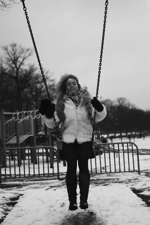 black and white, B&W, girl, model, shoot, photography, portrait, fashion shoot, coat, white , winter, casual, no colours , swings, playground, swinging, fun